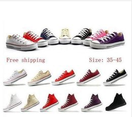 Purple Canvas Shoes Canada - Drop Shipping 35-45 New Unisex Low-Top & High-Top Adult Women's Men's Canvas Shoes 13 colors Laced Up Casual Shoes Sneaker shoes,free shippi