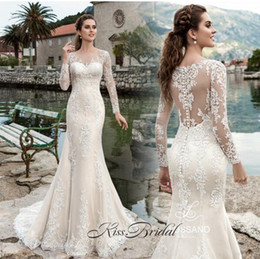 $enCountryForm.capitalKeyWord Australia - Mermaid Sheer Long Sleeves Elegant Wedding Dresses Full Lace Appliques Sexy Illusion Back Bridal Gowns With Buttons Back Long Sweep Train