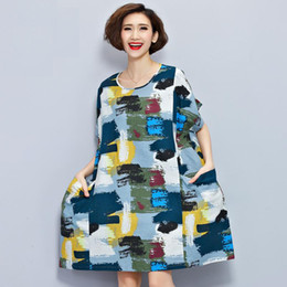 $enCountryForm.capitalKeyWord Canada - Plus Size Women Linen T-Shirt Summer Dress Chinese style Pattern Print Tops&Tees Casual Vintage Female Cotton T Shirt Dresses