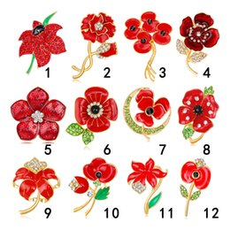 $enCountryForm.capitalKeyWord NZ - Fashion Female Rhinestone Red Flower Brooches Pins High Grade Enamel Painted Girl Ornaments Corsage Ladies Souvenir Gift Jewelry Wholesale