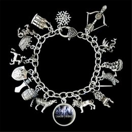 wholesale game thrones gifts 2019 - 6pcs Game Of Thrones Themed Charm Bracelet silver tone cheap wholesale game thrones gifts