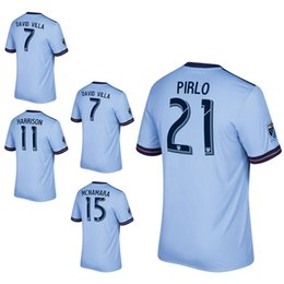 David S Pas Cher-Maillots de football 2017 MLS 2017/2018 Ligue majeure américaine # 21 PIRLO # 7 DAVID VILLA home bule uniforme de football 17/18 Chemises de train pour hommes