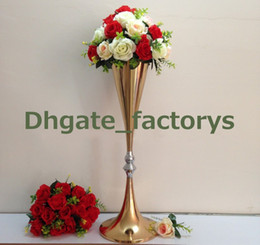 Discount tall vases wedding centerpieces wholesale tall vases metal gold color tall wedding pillar flower standflower vase centerpieces for wedding table and aisle decoration tall vases wedding centerpieces deals junglespirit Choice Image