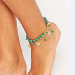 $enCountryForm.capitalKeyWord Australia - AOJUN 2 Pcs Beach Sandals Anklet Turquoise Beads Gold Plated Charm Ankle Bracelets for Women Girl Foot Jewelry Jewellery JL52U