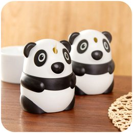 $enCountryForm.capitalKeyWord Australia - Wholesale- Creative Panda Hand-pressure Automatic Toothpick Box Toothpick Holder Lovely Fashion Table Toothpick Tank Toothpicks Dispenser