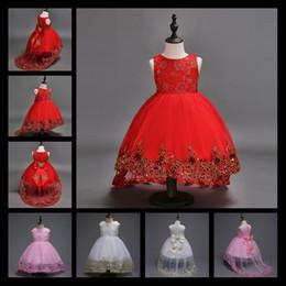 Girls Red Dress Butterflies Canada - 2017 Flower Girl Dress Children Red Mesh Trailing Butterfly Girls Wedding Dress Kids Ball Gown Embroidered Bow Party Dress