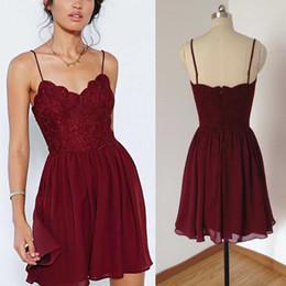 Red Spaghetti Strap Short Prom Dresses