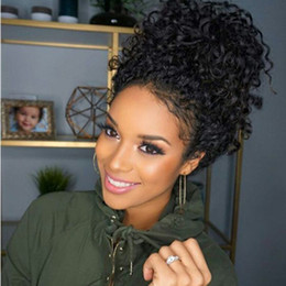 Full brazilian ponytail lace wigs online shopping - High ponytail Pre plucked lace wig density deep wave glueless virgin brazilian hair lace frontal wig for black women