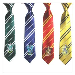 $enCountryForm.capitalKeyWord Canada - Cool Striped Ties Harry Potter Ties Harry Potter Costume School Crest Tie Gryffindor Ravenclaw Hufflepuff School Neckwear Free Shipping