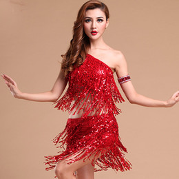 Faldas De Danza Latina Para Mujeres Baratos-Nueva Señora Dance Dress Sexy Señoras Sequins Frings Dancing Dresses Trajes de Mujeres Tango Latín Salsa Party Dress Top Falda Latina Set