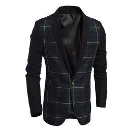 China Wholesale- High Quality Asian Size New Fashion Casual Cotton Slim Blazer Korea Style Suit Male Jacket Blazer Men cheap jacket men style korea suppliers