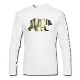 Mountains T Shirt NZ - Classic Mens Cotton Long Tee-Shirts Round Collar Bear Mountains Mens White Black Long Sleeve T-Shirt Large Size Custom Long Tee-Shirts