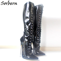 women fetish lace up boots Canada - Sorbern 18Cm High Heel Boots Women Lace-up Exotic Fetish Sexy Metal Thin Heel Stretch Lace Up Single Soles Knee-High Boots Plus Size