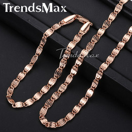 Discount snail chain - Wholesale- Trendsmax ROSE Gold Filled Snail Link Chain Womens Mens Chain Necklace Girls Boys Unisex Wholesale Jewelry GS