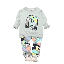 5b720bbb5 Kids Clothing Sets M Letters Multi Color Sweater Long Sleeve Camouflage  Pants Children's Suits for Girls Boys Summer 3-8T