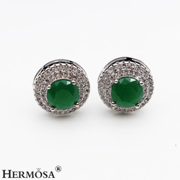 Chinese  Beautiful Women Stud Earrings Sterling Silver Natural Gemstone Emerald Sapphire Amethyst Garnet White Topaz Round Prom Gifts manufacturers
