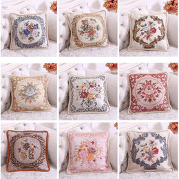 embroidered flower pillow cover UK - Boutique Embroidered Cover Square 50*50CM Flower Pillow Soft Cover Room Decorative Thick Pillow Cases with Ruffles