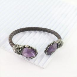 Wholesale Druzy Bracelet Canada - 5Pcs Natural Purple Quartz Bracelet, With Pave Crystal Zircon Leather Cuff Bracelets, Charm Druzy Jewelry Bangle