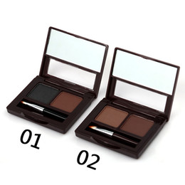powder natural Canada - 48SET M.n Menow Two-color eyebrow powder Belt Eyebrow Brush Gifts with Eyeliner Pen Waterproof Natural Stereo Makeup DHL E12002