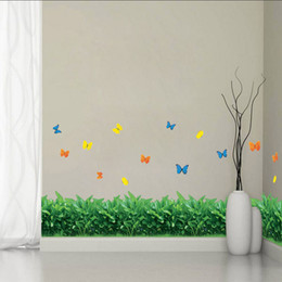 $enCountryForm.capitalKeyWord Canada - Grass Splendor Waist Baseboard Living Room Wall Stickers Home Decor decals Small Butterfly Waterproof Removable Stickers