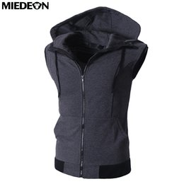 $enCountryForm.capitalKeyWord Canada - Wholesale- MIEDEON Cotton Men's Casual Hoodies Vest Slim Summer Men Zip Up Kangaroo Pocket Hoodies Casual Hooded Vest Sleeveless Fashion