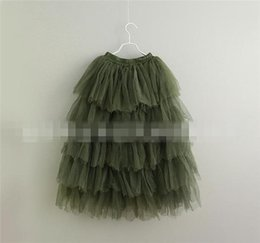 Habille Les Enfants Blancs Verts Pas Cher-Baby Girls Tulle Tutu Jupe 2017 Summer Kids Girl Cake Jupe Baby Fashion Long Dress Enfant Vêtements Grossiste Blanc / Rose / Beige / Vert S844
