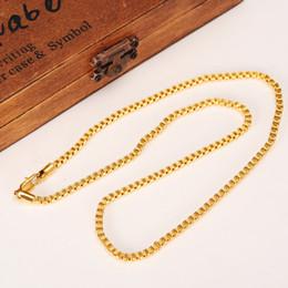 Thick chain choker online shopping - 50cm mm Brand Ethiopian Square k Yellow Fine Gold GF Thick Necklaces Box Chain Dubai Arab