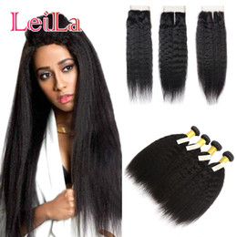 Coarse hair bundles online shopping - Full Bundles with Lace Closure Malaysian Kinky Straight Human Hair Pieces Coarse Yaki Full Hair