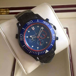 Men liMited watches chronograph online shopping - Luxury Brand Mens Quartz Chronograph Watches Blue Face Black PVD Stainless Steel Buckle Calendar Limited Edition Men Wristwatch Lowest Price