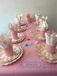 Discount Baby Shower Table Settings Wholesale 24 Sets Tableware With Table  Cloth Pink U0026 Gold