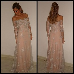 Discount red halter mother bride dresses - Arabic Dubai Formal Evening Dresses With Illusion Lace Off Shoulder Long Sleeves Mother Of the Bride Groom Dresses Custo