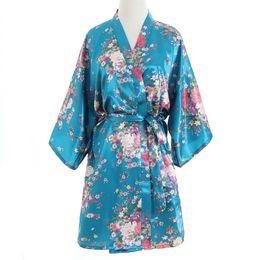 c84183d327 Wholesale- Top Selling Summer Women Mini Kimono Night Robe Light Blue Faux  Silk Bath Gown Short Nightgown Pijama Mujer One Size Msf008