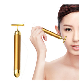 Barato Elevador Pele Facial Rolo-Slimming Face 24k Gold Vibration Facial Beauty Roller Massager Stick Lift Skin Tightening Wrinkle Stick Bar Face Cuidados com a pele