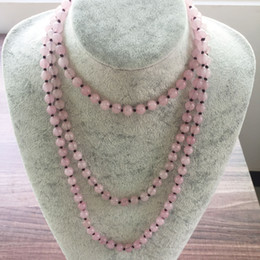 rose beads 8mm Canada - Nature Stone 8MM Rose Quartz Necklace Long Necklaces Hand Knotted 42inch Yoga Mala Beads Endless Infinity Beaded