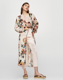 China Elegant Floral print Chiffon kimono long blouses shirts women split kimono japanese long cardigan Summer belt sashes casual bohemian kimono supplier elegant kimonos suppliers