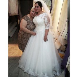 Crystals Applique Bead Wedding Dresses Canada - Plus Size A Line Wedding Dress Half Sleeve Beads Transparent Princess V Neck Princess New Crystal Tulle Lace Bridal Gowns Applique