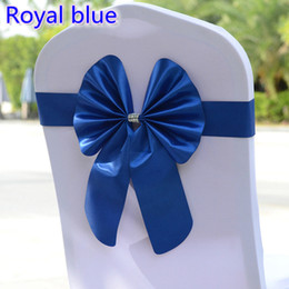 Discount royal blue chairs - Royal blue colour chair sash butterfly style bow tie stretch sash lycra band spandex chair cover sash for weddings whole