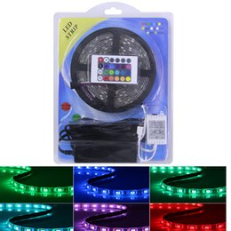 Discount light wire ribbon 5050 RGB LED Strips Light SMD 300 LED 60LED M Flexible LED light ribbon Waterproof IP65 with 24keys Controller 12V3A pow