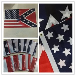 Hot rebel online shopping - Hot cm American Flag with Confederate Rebel Civil War Flag new style hot sell x5 Foot Flag I034