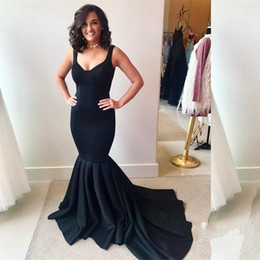 Celebrity oCCasions dresses online shopping - 2018 Newest Black V Neck Mermaid Prom Dresses Pleats Zipper Back Formal Celebrity Evening Dresses Prom Gowns Special Occasion Dresses