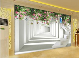 Roses Butterflies Canada - 3D space to expand the rose butterfly staircase TV backdrop 3d murals wallpaper for living room
