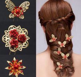 $enCountryForm.capitalKeyWord Canada - Shinning Butterfly Hair Clips MINI Rhinestone Pearl Hair Accessories Bridal Jewelry Women Party Supplies Jewelry Decoration 30 pcs free ship