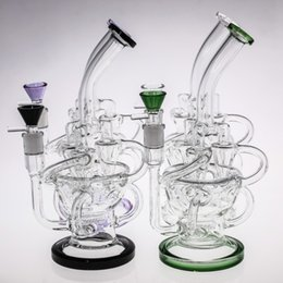 purple green bong Canada - 26cm Purple Green Glass Bongs Triple Funnel Chambers Inline Perc Smart Recycler Oil Rigs Glass Bong 14.4mm 100% Real Smoking Pipes