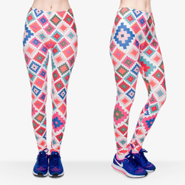 multi color yoga pants Canada - Women Leggings Plaid Color Cross 3D Graphic Print Girl Elastic Waist Band Soft Pants Skinny Stretchy Yoga Colorful Pattern Trousers (J30548)