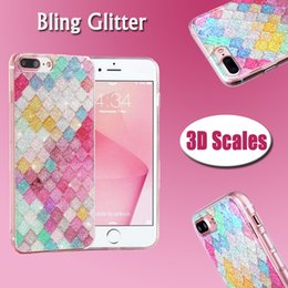 3d Se Baratos-Color del arco iris Colorido escalas 3D Squama Bling Brillo Brillante Brillo Crystal Clear Funda de TPU suave para iPhone X 8 7 Plus 6 6S SE 5 5S