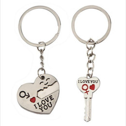 Discount new love ring boy girl - New Couple I LOVE YOU Heart Keychain Ring Keyring Key Chain Lover Romantic Creative Birthday Gift ak067