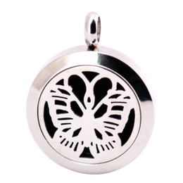american oil UK - Butterfly 25mm Diffuser 316 Stainless Steel Necklace Pendant Aroma Locket Essential Oil Diffuser Lockets Free 100pcs Felt Pads As Gift
