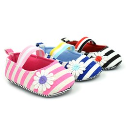 BaBy walk shoes online shopping - Infant Shoes Daisy Stripe Baby Girls Prewalker Princess Shoes Anti slip Soft Rubber Sole Baby Walking Shoes