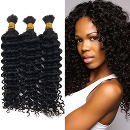 Wholesale brazilian braiding hair online shopping - 3pcs Human Hair Deep Wave Bulk Malaysian Unprocessed Hair Natural Color Curly Bulk Hair For Braiding FDSHINE