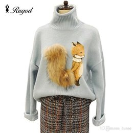 Barato Pulôver De Tricô Fox-Atacado-Alta qualidade 2016 New Autumn Fashion Popular Women Sweaters and Pullovers Fox Tail Fur Turtleneck Knitted Female Sweater Tops